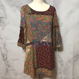 Boho Patchwork Floral Paisley Bell Sleeve Mini